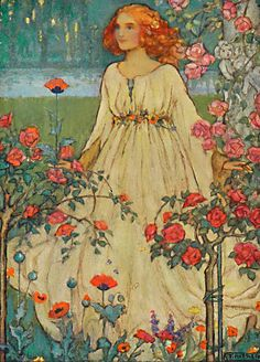 """Harrison, Florence Blackie's Girls Annual Blackie Colour frontis by Florence Harrison to accompany her own poem, """"July"""". Contains a story by Angela Brazil, """"An Exciting Picnic""""."""