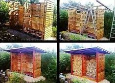 Firewood shed pallet shed, pallet crates, old pallets Pallet Shed, Pallet Crates, Old Pallets, Wooden Pallets, Diy Pallet Projects, Pallet Ideas, Outdoor Projects, Wood Projects, Log Shed