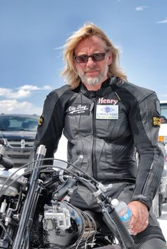 TV presenter Henry Cole on the Salt Flats. Rags Clothing, Clothes, Henry Cole, Tv Presenters, Clothing Company, Motorcycle Jacket, Actors, Black And White, Bikers
