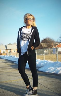 Firmoo | Stylin' Mommies  Glasses: c/o Firmoo  Jacket: Zumiez  Shirt: H&M (mens dept)  Pants: Bohme  Shoes: Converse {vintage graphic tee, black hoodie jacket, black skinny jeans, black converse, nerd glasses. geek, skater, casual, basic, hangout, school, fall outfit.}