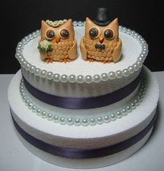 Owls Cake Toppers  cute for a rehearsal dinner cake.