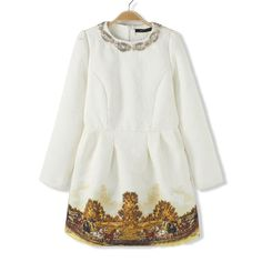 Graceful Rhinestone Embellished Floral Print Long Sleeve Dress