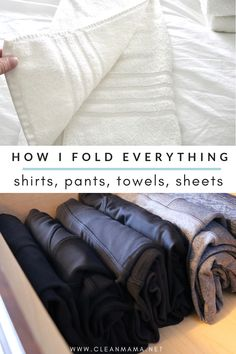 How I Fold Everything - Clean Mama Deep Cleaning Tips, Cleaning Solutions, Cleaning Hacks, Cleaning Lists, Lifehacks, Clean Mama, Clean Baking Pans, Hard Water Stains, Cleaning Painted Walls