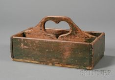 Green-painted Wooden Cutlery Box with Cut-out Heart-shaped Handle | Sale Number 2468, Lot Number 25 | Skinner Auctioneers