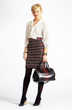 kate spade new york 'lewis' print silk top & 'jordan' print skirt paired with accessories #Nordstrom