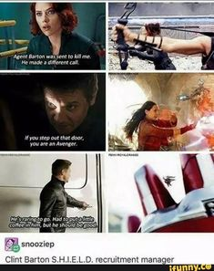 Clint Barton aka unofficial shield recruiter<<<hey look! It's a compilation of all Hawkeyes lines in all the avengers movies! Avengers Humor, Marvel Avengers, Funny Marvel Memes, Dc Memes, Marvel Jokes, Marvel Dc Comics, Marvel Heroes, Funny Memes, Comics