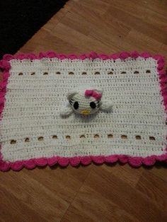 hello kitty baby comforter by crochetcraziehand on Etsy