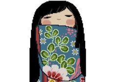 Kokeshi+Girly+Doll+6+MIKA+by+CrossStitchRinna+on+Etsy