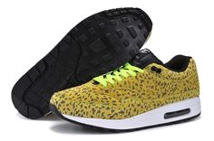 meet cbe84 081e7 Volt Volt White Black Nike Air Max 1 FB Leopard Men s Running Shoes off  cheap womens Sneakers online for sale at com