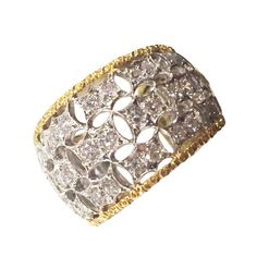 Buccellati Diamond and Gold Ring | From a unique collection of vintage band rings at Available at Hope Goldman Meyer Fine Jewelry 3617 Magazine Street, New Orleans or https://www.1stdibs.com/jewelry/rings/band-rings/