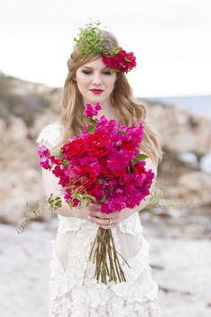 Bougainvillea and rose bridal #bouquet | Hazel Buckley Photography | see more on:  http://burnettsboards.com/2014/02/beach-bridals-beautiful-bougainvillea/