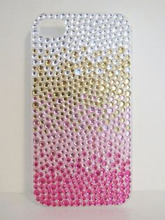 Pink Gold Silver Ombre Crystal Iphone 4G/4S Clear Trendy Cell Phone Case. $20.00, via Etsy.