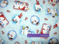 Frosty The Snowman Santa Claus Karen Frame Toss Cotton Fabric By The Half Yard by DaMommasTextiles on Etsy