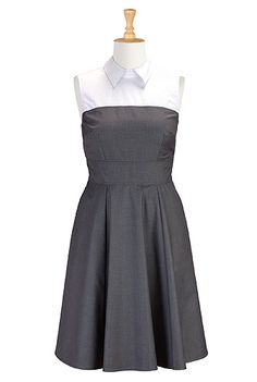 Contrast collar fit-and-flare dress from eShakti - I would totally wear a bow tie with this.