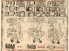 """Page 45 B from The Dresden Codex, one of four remaining """"books"""" attributed to the Maya culture, which flourished in the Yucatan Peninsula, Guatemala and Belize centuries before the arrival of Europeans in the Americas. One theory suggests that this page (along with previous pages) involves the tracking of the planet Mars"""