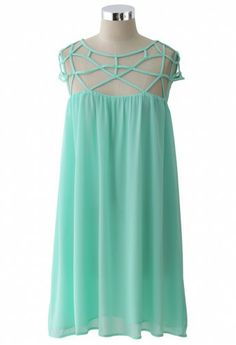 mint cage dress top