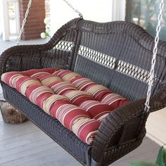 Comfortable Front Porch Swings. Hate the cushion pattern, but that could be changed
