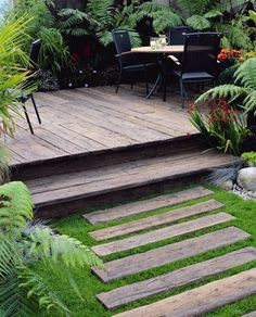 "this shows two the single step I've used in my designs for your deck. treads should be wide (at least 12"" but can be more) and the risers should be low (4"" or 5"") to make the transition comfortable"