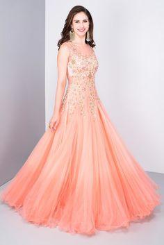 SANNA MEHAN peach pink ombre appliqued work gown