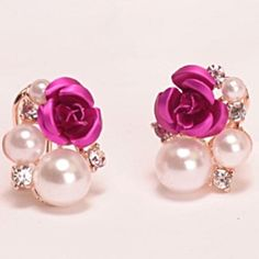 Pink Rose Pearl Rose Gold Earrings Exquisite quality and fabulous! None Jewelry Earrings