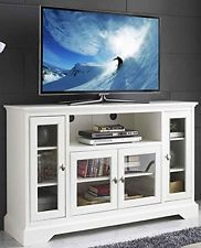 Highboy Style Wood TV Stand - White - Walker Edison Display your entertaining space in style with this highboy media stand. Its four storage cabinets provide ample storage space to house your favorite movies, components, and game consoles. Highboy Tv Stand, Tv Stand Console, Console Storage, Tv Storage, Console Table, White Tv Stands, Cool Tv Stands, Black Glass Tv Stand, Tv Media Stands