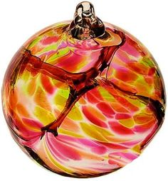 "Kitras Art Blown Glass 6"" Birthstone Birthday Ball - July"