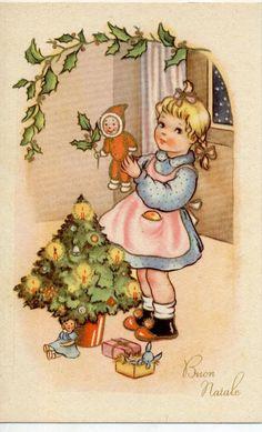Kids Art Girl with Doll Puppet Xmas Tree Vintage PC Circa 1930 C | eBay