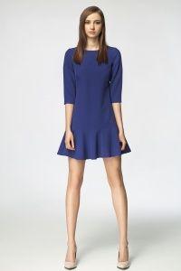 Kobaltowa sukienka z falbanką na dole