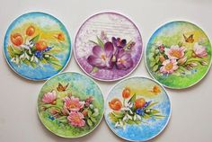 Decoupage onto Cd's. Decoupage ANYTHING. Diy Craft Projects, Kids Crafts, Old Cd Crafts, Easy Arts And Crafts, Spring Crafts For Kids, Crafts To Make, Recycled Cds, Recycled Garden Art, Art Cd