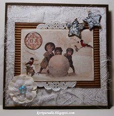 Brunt og hvitt julekort