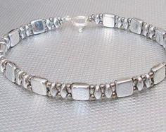 roze tila armband beaded jewelry superduo bangle door beadnurse