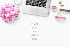 Desk Accessory | Styled desktop | Laptop and Peonies | Styled photography | Digital Image
