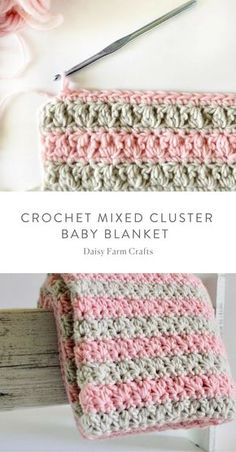 Crochet For Beginners Free Pattern - Crochet Mixed Cluster Baby Blanket - I love how my mixed cluster stitch blanket turned out! Once I show you how to work all the loops,… Crochet Afghans, Crochet Baby Blanket Beginner, Afghan Crochet Patterns, Crochet Stitches, Crochet Blankets, Baby Afghans, Baby Patterns, Beginner Crochet, Crochet Granny