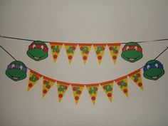 Ninja turtle pizza happy birthday party wall by CutenessReigns
