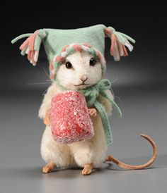 """RJW - Sugar - mohair, 3"""" tall, jointed arms and neck, glass eyes; resin hands/feet; leather tail; felt hat; all-felt gumdrop. Date of Release: 2011 Limited Edition: 250. Fifth piece in the Christmas Mouse Collection. Made as a companion to the 2007 """"Spice"""" edition."""