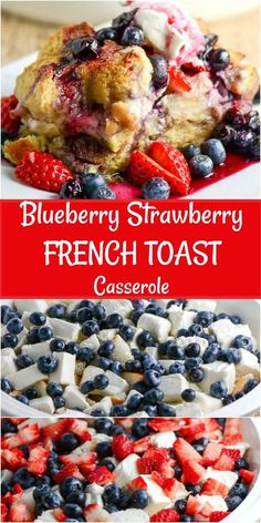 Strawberry French Toast Casserole is an overnight casserole, French or Italian bread, strawberries and blueberries, and topped with a sweet blueberry sauce that will feed a crowd for breakfast or brunch. Perfect for an Easter or Mother's Day brunch! Breakfast Appetizers, Breakfast Dessert, Breakfast Dishes, Breakfast Recipes, Blueberry Breakfast, Strawberry Breakfast, Yummy Breakfast Ideas, Brunch Foods, Breakfast For A Crowd