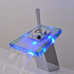 Contemporary Single Handle Waterfall LED Chrome Bathroom Sink Faucet - T0804-1F