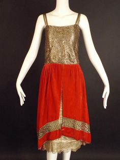 1920s Gold Lace & Pink Velvet Evening Dress, Bust-32