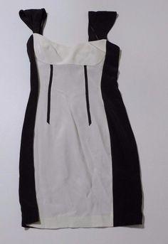 Jay Godfrey Black White Color Block Dress Size 6 Cap Sleeve Pencil Skirt  #JayGodfrey #WigglePencil #Clubwear #ColorBlocking #Fashion #Apparel #Shopping #eBay