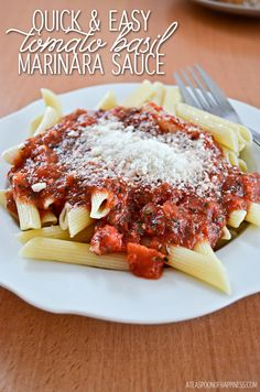 Quick & Easy Tomato Basil Marinara Sauce - A Teaspoon of Happiness ---- SO EASY!! and taste great!