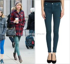 Out and about | New York City, NY | March 22, 2014 Hudson Jeans 'Nico Midrise Super Skinny in Graphite Teal' - $176.00 Taylor used to be a big fan of classic Hudson Jeans darkwash denim a couple years ago. Here, she gets more colourful with a green/blue shade. Worn with: Urban Outfitters beanie, Dolce Vita coat, Dolce & Gabbana bag, Red C Jewels ring and Rag & Bone booties Also worn: Out and about in New York City, November 14
