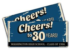 Set of 12 - High School Reunion Candy Bar Wrappers - 10th, 20th, 30th