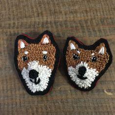 芝犬刺繍ブローチ  1