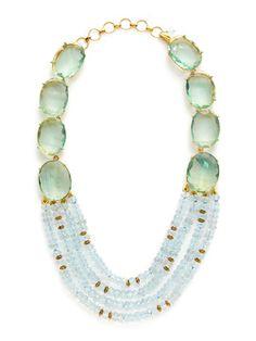 Aquamarine & Fluorite Multi Strand Drop Necklace by Bounkit on Gilt Jewelry Art, Jewelry Necklaces, Jewelry Design, Bone Jewelry, Bohemian Jewelry, Statement Jewelry, Jewelry Ideas, Drop Necklace, Beaded Necklace