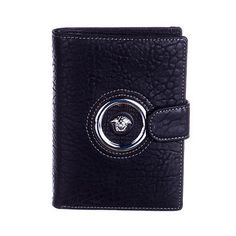 NEW Men's Versace genuine leather black wallet  passport holder