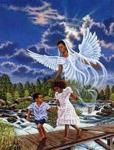 Free African American religious clipart of black angel watching over black children.  .Artist/Photographer: Unknown