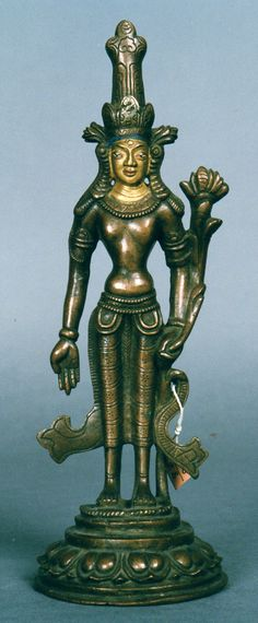 14th century, Mongolia, bodhisattva Avalokiteshvara Padmapani, copper alloy with cold gold on face, at Zanabazar Museum