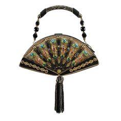 Mary Frances Fan Out Black Gold Oriental Geisha Beaded New Handbag Purse Bag New #MaryFrances #EveningBag