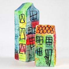 Milk cartons covered with gauze bandage, painted with A-Color Acrylic Paint in neon colours and decorated with a black Power Liner permanent marker. Diy For Kids, Crafts For Kids, Color Crafts, Cardboard Crafts, Xmas Decorations, Little People, Kids And Parenting, Art Lessons, Fathers Day Gifts