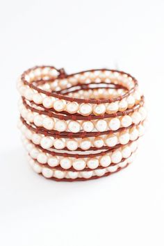 Precious Pearl Wrap Bracelet on Honey Red Leather Shop: www.talulahlee.com #pearlwrapbracelet #pearlbracelet #wrapbracelets